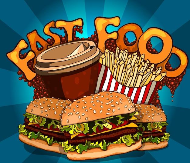 Gruppe von fast-food-produkten. vektorhintergrund