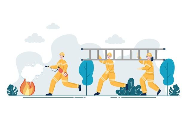 Gruppe von feuerwehrleuten illustration
