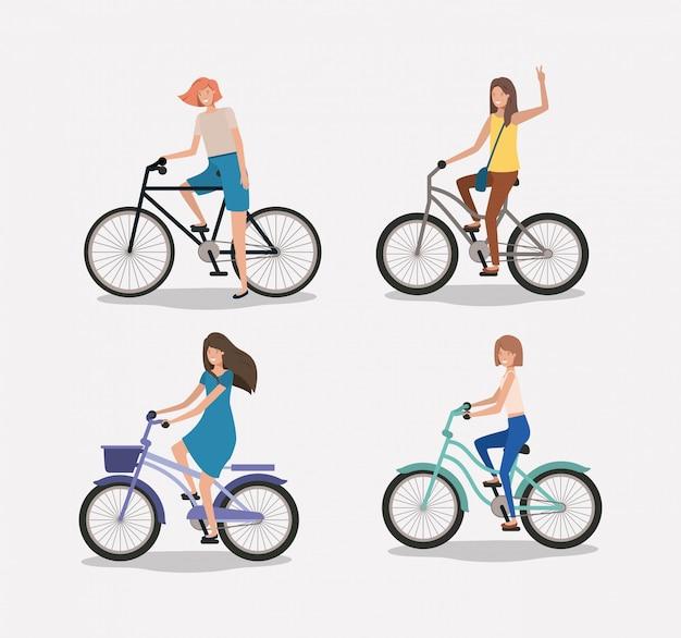 Gruppe von frauen auf dem fahrrad