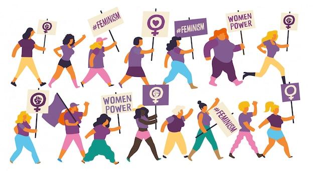 Gruppe von frauen, die auf einer demonstration zum internationalen frauentag marschieren. feministische frauen tragen lila flaggen und plakate mit feministischen und empowerment-botschaften.