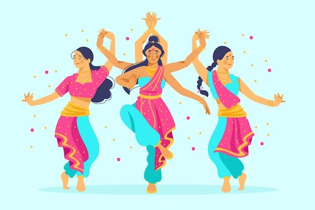 Gruppe von frauen, die bollywood tanzen
