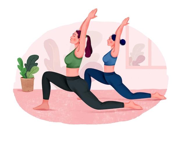 Gruppe von frauen, die yoga drinnen machen yoga-kurs