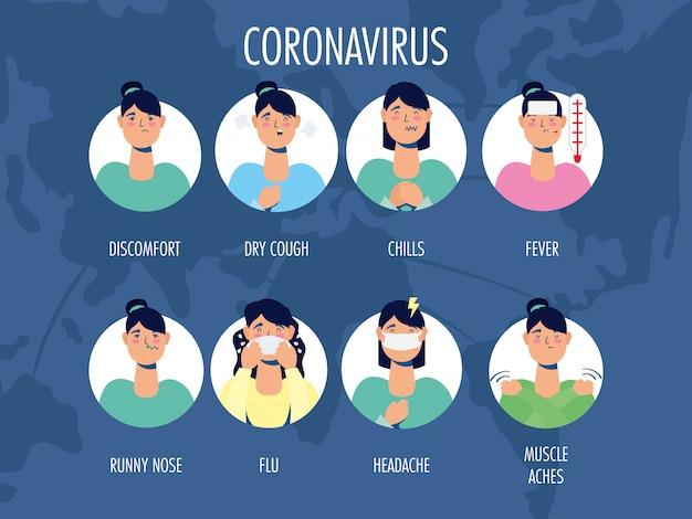 Gruppe von frauen mit coronavirus-symptomen