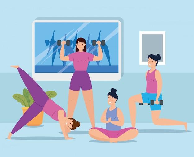 Gruppe von frauen zu hause workout vektor-illustration design