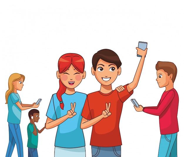 Gruppe von freunden cartoon