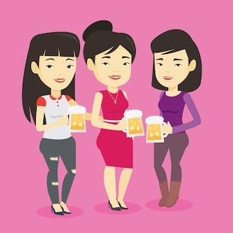 Gruppe von freunden, die bier im pub genießen.