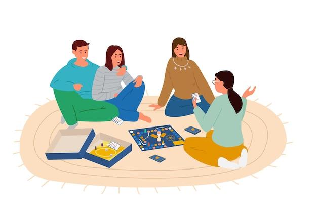 Gruppe von freunden, die brettspiel spielen, das auf dem boden sitzt. frau, die wörter von der spielkarte erklärt.