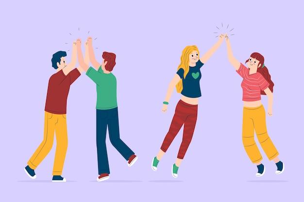 Gruppe von freunden geben high five