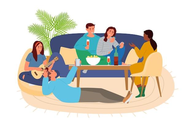 Gruppe von freunden zu hause rumhängen reden, musik spielen, wein trinken, chips essen.