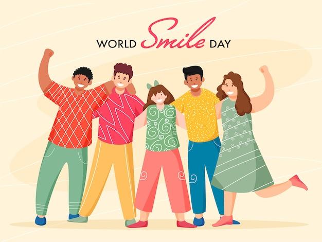 Gruppe von fröhlichen jungen und mädchen, die zusammen auf gelbem hintergrund für weltlächeltag stehen.