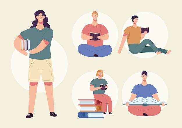 Gruppe von fünf lesern, die buchfigurenillustration lesen