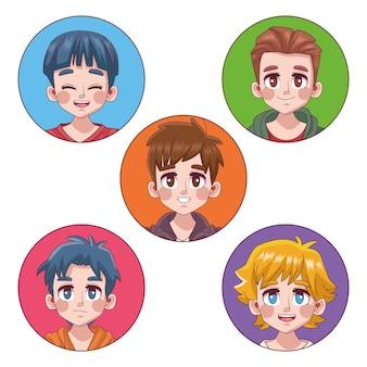Gruppe von fünf niedlichen jungen jungen teenager manga anime charaktere illustration