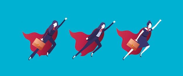 Gruppe von geschäftsfrauen, die mit heldenmantel fliegen