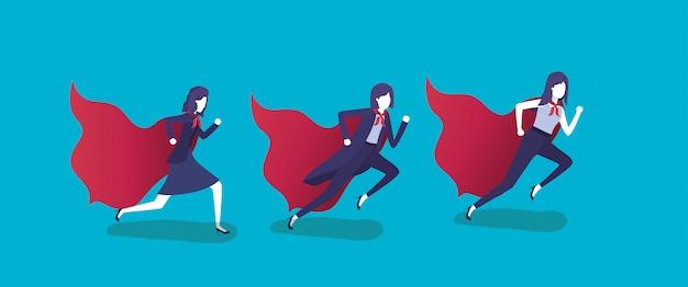 Gruppe von geschäftsfrauen, die mit heldenmantel laufen