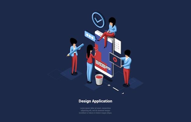 Gruppe von geschäftsleuten, die anwendung kleine zeichen entwerfen, die nahe riesigem smartphone stehen und 3d-komposition arbeiten