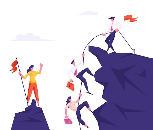 Gruppe von geschäftsleuten, die auf berggipfelführer klettern und kollegen mit seil ziehen