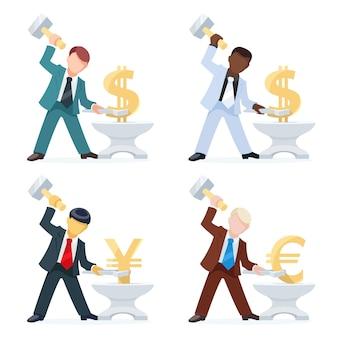 Gruppe von geschäftsleuten, die geld verdienen, indem sie währungszeichen von dollar euro und yen fälschen