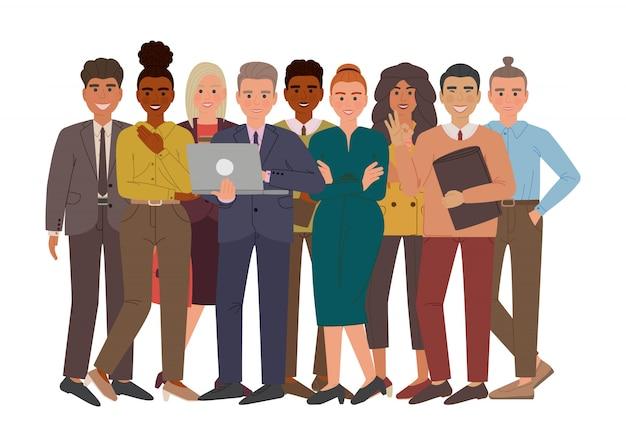 Gruppe von geschäftsleuten und -frauen in anzügen und büroartstoff. professionelle multiethnische gruppe von geschäftsleuten. zeichentrickfiguren isoliert.
