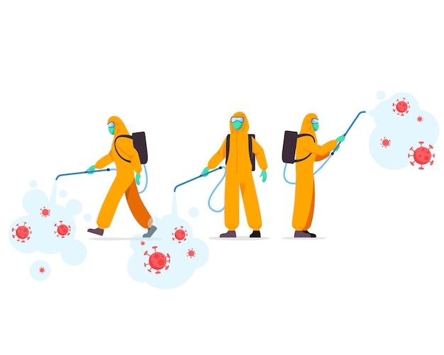 Gruppe von gesundheitsbeauftragten sprühdesinfektionsmittel