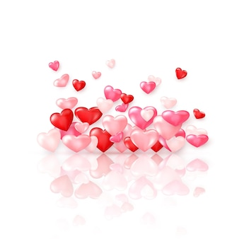 Gruppe von glänzenden roten herzen mit reflexion. valentinstag dekorationselement.