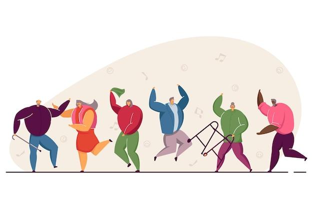 Gruppe von glücklichen alten leuten, die springen und tanzen