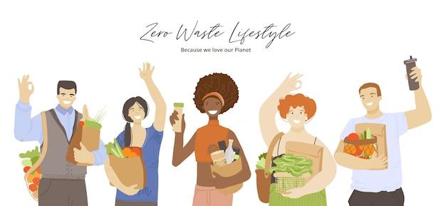 Gruppe von glücklichen freudigen gemischtrassigen menschen, die null abfall ökologisches recycling halten und produkte reduzieren, hände winken, ok-zeichen zeigen. zero waste lifestyle-konzept mit umweltfreundlichen menschen