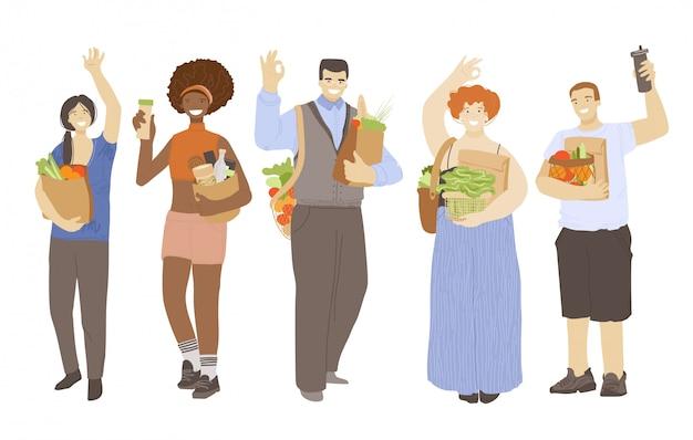 Gruppe von glücklichen freudigen menschen, die null abfall ökologisches recycling halten und produkte reduzieren, hände winken, ok-zeichen zeigen. zero waste lifestyle-konzept mit umweltfreundlichen, gemischtrassigen menschen