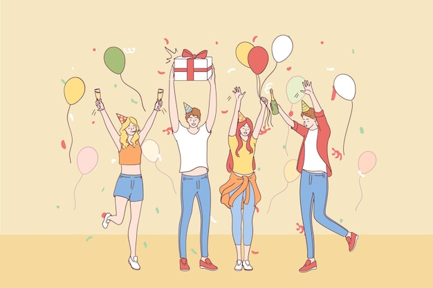 Gruppe von glücklichen jungen leuten befreundet zeichentrickfiguren in festlichen hüten, die hände heben, die feiertag mit konfetti, champagner und geschenkboxen zusammen feiern