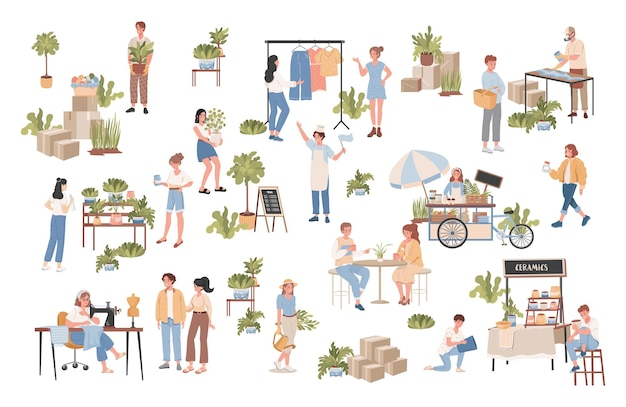Gruppe von glücklichen lächelnden leuten, die sich um pflanzen kümmern, kleidung auf nähmaschine nähen, straßenlebensmittel verkaufen