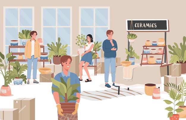 Gruppe von glücklichen menschen, die blumen auswählen und kaufen