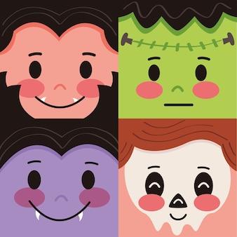 Gruppe von halloween-kostümikonen der maske