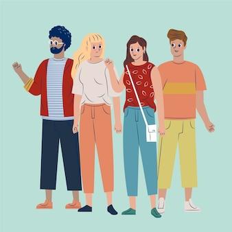 Gruppe von interracial freunden