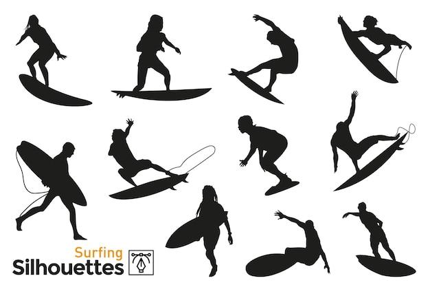 Gruppe von isolierten silhouetten von leuten, die surfen