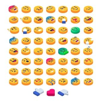 Gruppe von isometrischen emoji-emoticons komplettes set-bundle