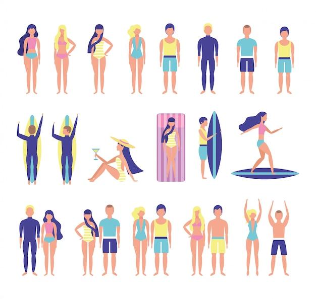 Gruppe von jugendlichen mit strandkostümen bündeln zeichen