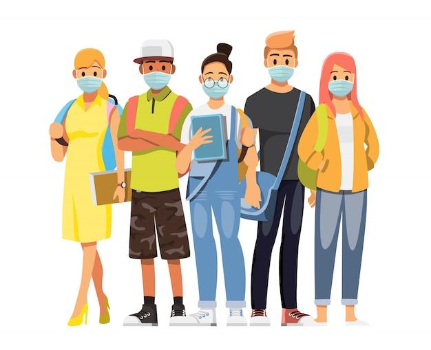 Gruppe von jugendlichen universitätsstudenten, die medizinische masken tragen, um krankheit, grippe, luftverschmutzung, kontaminierte luft, schützende medizinische maske zur vorbeugung von viren abzudecken. illustration zeichentrickfigur.