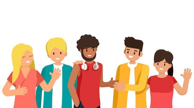 Gruppe von jungen leuten verschiedener rassen und kulturen lokalisiert auf weißem hintergrund, flache zeichentrickfiguren gesetzt, illustration