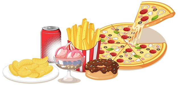 Gruppe von junk food und süßem lokalisiert auf weiß