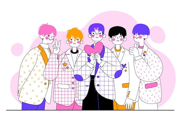 Gruppe von k-pop-jungs illustriert