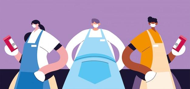 Gruppe von kellnern mit gesichtsmaske und uniform