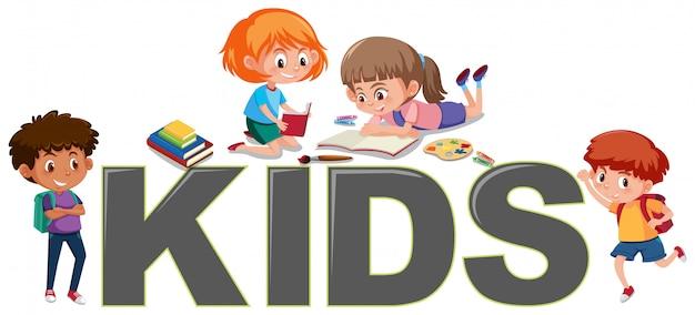 Gruppe von kindern beim lesen