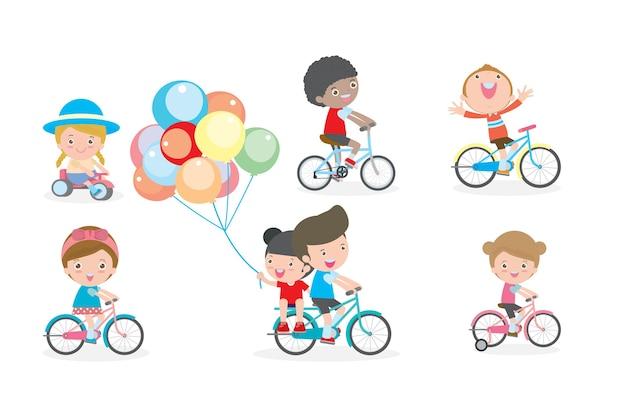 Gruppe von kindern, die fahrräder reiten, kinder, die fahrrad fahren, kind auf fahrrad illustration auf weißem hintergrund