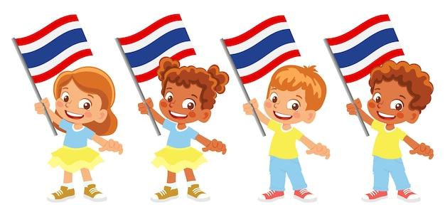 Gruppe von kindern, die ihre nationalflaggenillustration halten