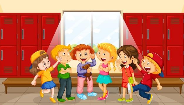Gruppe von kindern in der umkleidekabine