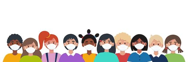 Gruppe von kindern in schutzmasken. virenkonzept schützen.