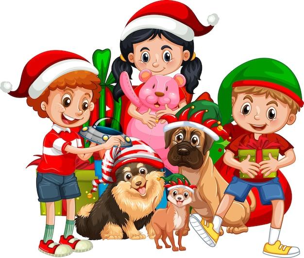 Gruppe von kindern mit ihrem hund tragen weihnachtskostümkarikatur auf weißem hintergrund
