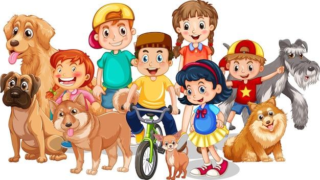 Gruppe von kindern mit ihren hunden auf weißem hintergrund