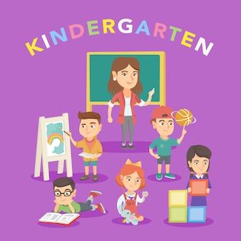 Gruppe von kindern mit lehrer im kindergarten.