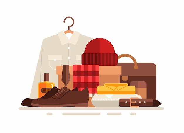 Gruppe von kleidung und männlichen accessoires. flache illustration