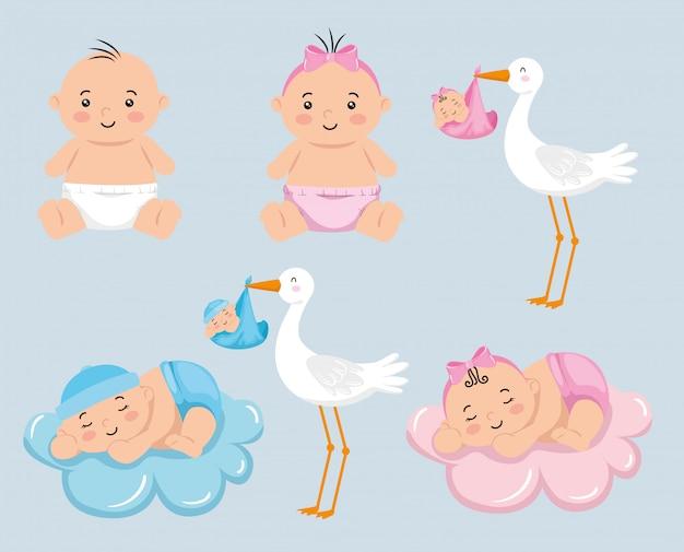 Gruppe von kleinen babys mit niedlichem storch